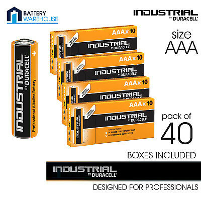 40 x Duracell Industrial Alkaline AAA 1.5v Battery - Pack of 40 | LR03 MN2400