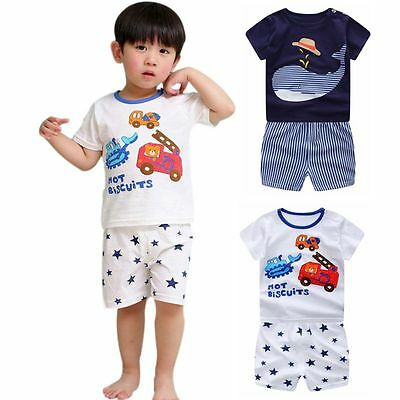 Toddler Kids Baby Boys Girls T-shirt Tops+Pants Shorts Outfits Clothes 2PCS Set