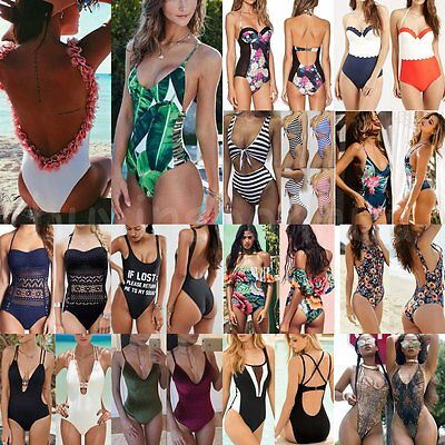 Women's One Piece Bikini Push up Padded Bra Swimsuit Bathing Swimwear Beachwear