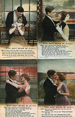 """C1910 Set of 4 Bamforth Song Cards: """"They Didn't Believe Me"""""""
