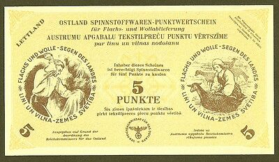 WWII Estonia/Latvia/Lithuania -German Occupation 5 Punkte 1943 Uncirculated