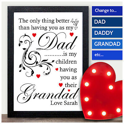 DAD GRANDAD Fathers Day Gifts Birthday Daddy Uncle Personalised Word Art Present