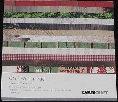 "Kaisercraft 'BASECOAT CHRISTMAS' 6.5"" Paper Pad Holly/Pine Cones *NEW* KAISER"