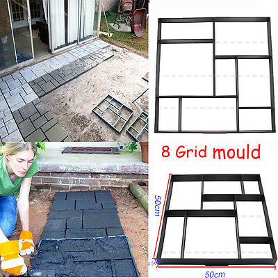50x50 DIY Square 8 Grid Driveway Brick Patio Concrete Slab Path Walk Maker Mould