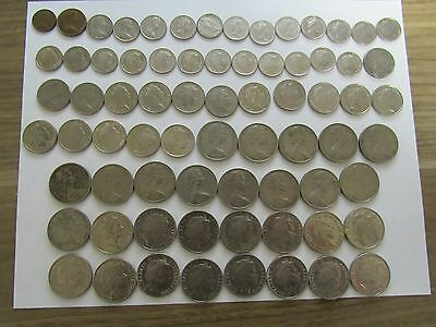 Lot of 72 Different Australia Coins - 1966 to 2015 - Circulated & Brilliant Unc.