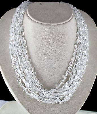 Best 10 Line 930Cts Natural Rock Crystal Quartz Long Beads Necklace With Silver