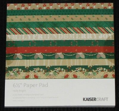 "Kaisercraft 'HOLLY BRIGHT' 6.5"" Paper Pad Christmas/Xmas KAISER *DELETED 1 LEFT*"