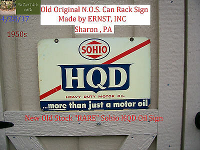 """Vintage 1950s """"RARE - SOHIO Oil Can Rack Sign"""