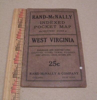 Vintage Rand-McNally Indexed Pocket Map & Shipper's Guide-West Virginia-1916-
