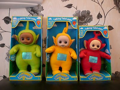 New Original 1996  Talking Teletubbies Laa La Dipsy Po Soft Plush Dolls