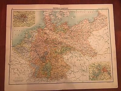 Original Antique 1898 Map of the German Empire. Insets of Berlin and Hamburg