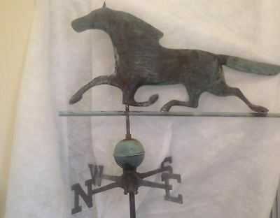 Vintage Hand Forged Copper Horse Weathervane Complete w/ Ball & Directionals
