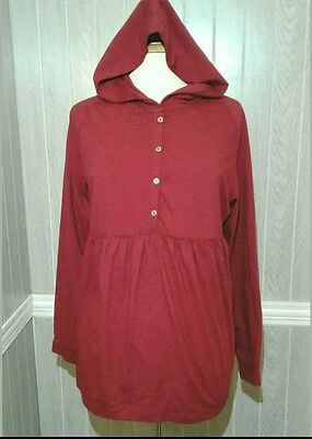 Women's Maternity Nordstrom hoodie long sleeve shirt button up baby doll L nwt