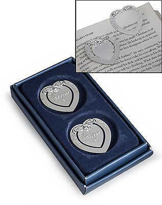Set of 2 Personalised Silver Heart Bookmarks With Flowery Design - Engraved