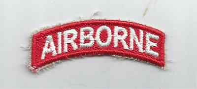 US Army Airborne Tab White on Red cut edge