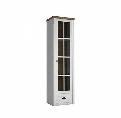 Harmony Kendal 1 Door Display Cabinet with Drawer  White Pine Oak Wood Furniture