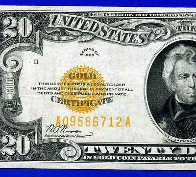 --1928 $20 Gold Certificate (( Strong XF )) FR-2402 # A09586712A