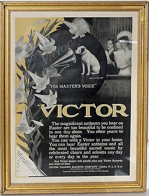 Victor Talking Machine His Masters Voice Dog Nippy Advertising Poster Framed