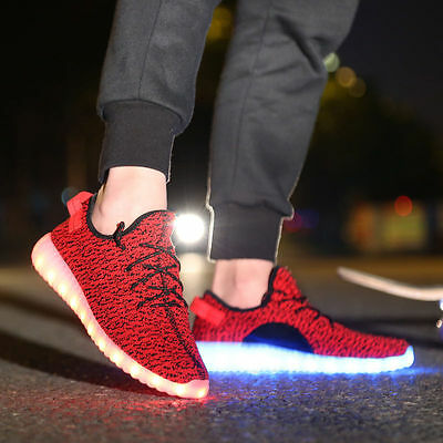 Unisex LED Light Casual Shoes Lace Up Luminous Sportswear Sneaker Coconut ZZ17