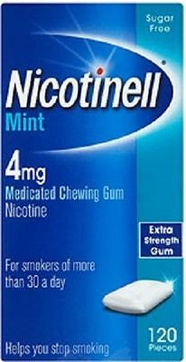 NICOTINELL MINT GUM  4mg Medicated Chewing gum Sugar Free 120 Pieces EXP 10 / 18