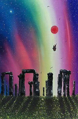 """Stonehenge"" large colourful romantic original oil painting on canvas Phil Broad"