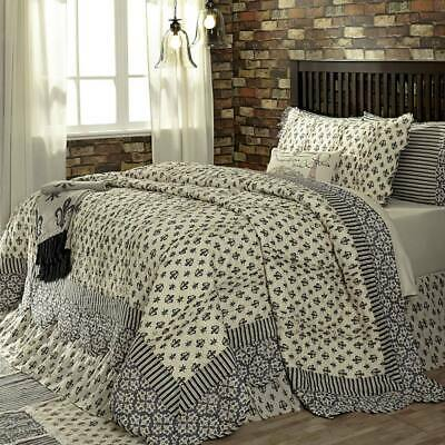 Elysee Black French Country Fleur-de-lis Luxury King Queen Twin Quilt