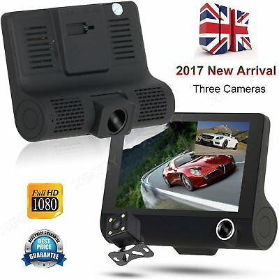 New 4'' HD 1080P In Car DVR Dash Cam Dual Lens Rearview Camera Video Recorder UK