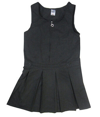 Girls Grey pinafore dress school uniform pleated skirt heart/star zip age 2 - 11