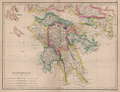 Map of Peloponnese or Peloponnesus, Greece 1874 Antique original