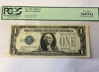 """1928A  Pcgs  Vf 30 Ppq  'funny Back"""" $1 Silver Certificate"""