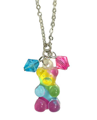 Gummy Bear Necklace Kandi Jewelry Adjustable Chain Rainbow Color Party Favor