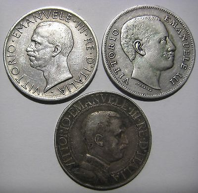 Italy - 1907-1929 Lot of 3 Silver 1 and 5 Lire Coins