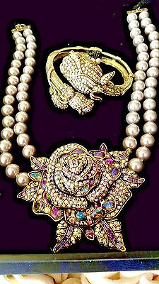 Heidi  Daus  Necklace & Timepiece  Set  New  Beauty & The Beast Inspired  Must C