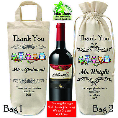 Bottle Bag Personalised Thank You Teacher Gift School Wine Carrying Bag Wrapping