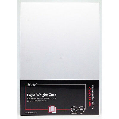 PaperState - Basic A4 Lightweight Card - 170 Gsm - White - 30 Sheets