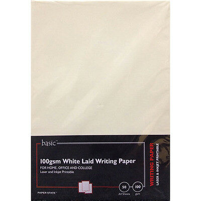 PaperState - Basic A4 Laid Paper - 100 Gsm - White - 50 Sheets