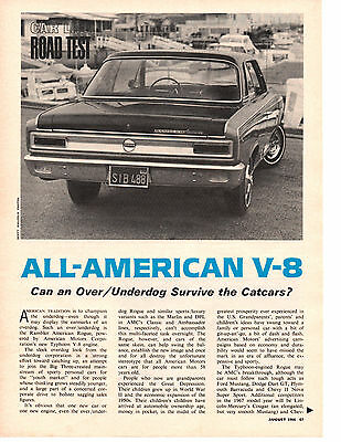 1966 Rambler Rouge 290/200 Hp ~ Original 4-Page Road Test / Article / Ad