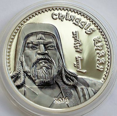 Mongolia, 1000 togrog 2014, Chinggis Khaan Proof Silver Coin, Partially Colored