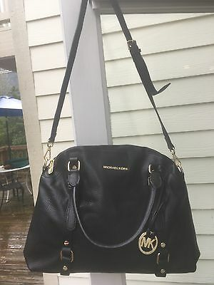 MICHAEL KORS Large Satchel Black Pebbled  Leather Crossbody Shoulder bag