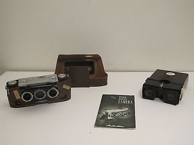 Vintage Realist Stereo Camera W/ Viewer and Instructions Leather Case Ilex Lens