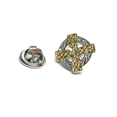 Two Tone Celtic Cross Lapel Pin Badge Tie Pin Gift For Him