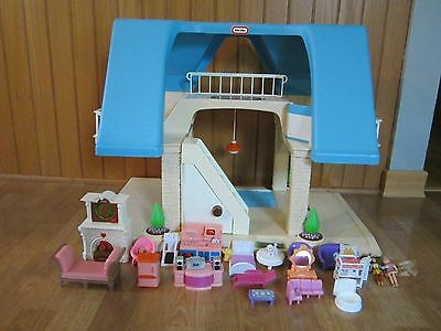 LITTLE TIKES BLUE ROOF VINTAGE DOLLHOUSE Furniture  ACCESORIES