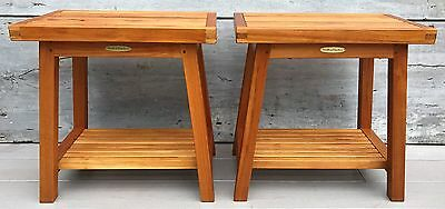 "Vintage Pair of Smith & Hawken 18""H Teak Side Tables Shower Benches Stools"