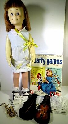 Mattel Charmin' Chatty Cathy With Game And Other Accessories 1960's In Blue