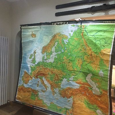 Large Vintage Retro School Map Europe