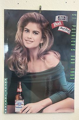Bud light Laminated poster with Kathy Ireland. 1990s bud light poster.