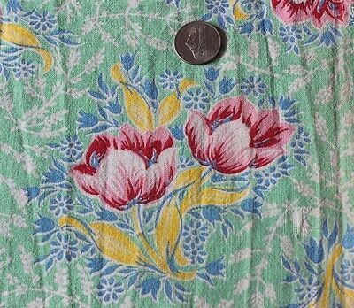Genuine Old Vintage Cotton Feedsack Fabric Material~Red Tulips
