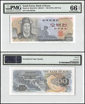 South Korea 500 Won, ND 1973, P-43, UNC, PMG 66 EPQ