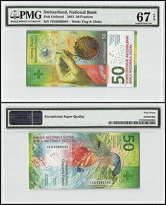 Switzerland 50 Franken, 2015, P-NEW, UNC, Flag & Globe, PMG 67 EPQ