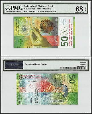 Switzerland 50 Franken, 2015, P-NEW, UNC, Flag & Globe, PMG 68 EPQ